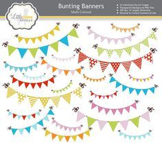 Digital Clip Art // Bunting Banners Party Flags // 24 PNG Images // Instant Download // Commercial Use