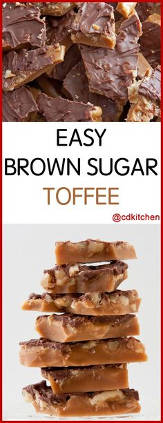 Easy Brown Sugar Toffee - Recipe is made with semi sweet chocolate chips, brown sugar, butter, walnuts | CDKitchen.com