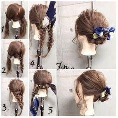 簡単で可愛い?自分でできるヘアアレンジ✨ ロングのスカーフアレンジ? 結婚式の2次会でも使える、カジュアルだけど上品テイストな三つ編みスカーフstyle✂︎ ・ ・ ゴム2本.ピン2本 所有時間10分 1.ジグザグに斜めに髪を2つに分けます。 2.右の毛束から三つ編みして毛先はゴムで結ぶ 3.左の毛束も三つ編みして毛先はゴムで結び。 4.それぞれ三つ編みした毛束の下からスカーフを通します。 5.2つの三つ編みした毛束とスカーフを重ねて固結びしていきます。 Fin.毛先は上に持ち上げて固結びした中央付近にバランス良くピンで留めます。スカーフはリボン調に整え、おくれ毛をコテで巻いたら完成です? ・ *アレンジリクエストお待ちしてます* ・ 吉祥寺 LinobyU-REALM リノバイユーレルム ?0422272131 東海林翔太