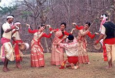 The Bihu folk dance is from the Indian state of Assam related to the festival of Bihu. This joyous dance is performed by both young men and women, and is characterized by brisk dance steps, rapid hand movement, and a rhythmic swaying of the hips in order to represent youthful passion, reproductive urge and 'Joie-de-vivre'. Dancers wear traditionally colorful Assamese clothing.    Songs sung in Bihu are woven around themes of love and often carry erotic overtones.