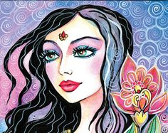 beautiful Indian woman painting Indian decor Indian by EvitaWorks