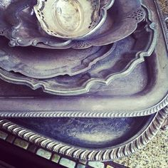 Old Tarnished Silver Trays~