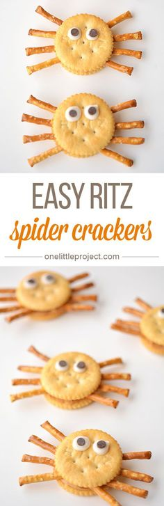 A fun and easy snack for your Halloween Party! These Ritz cracker spiders are simple and quick to make and your kids will love them. Pack them in their lunchbox for a spooky Halloween snack! Halloween Snacks, Comida De Halloween Ideas, Pasteles Halloween, Halloween Kids, Holidays Halloween, Halloween Party, Halloween Pretzels, Halloween Breakfast, Holiday Treats