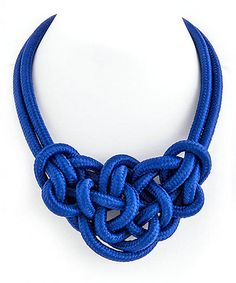 Blue Knotted Rope Necklace