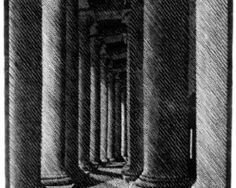 Nocturnal Rome, Colonade of St. Peter's by M.C. Escher, 1934.