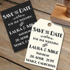 Vintage style Save the Date rubber stamp with an by Designkandy, $36.00