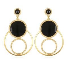 """The EntourageDrop Earrings feature an inspired design with semi-precious stones encircled with crystals... guaranteed to turn heads! Earrings measure 3"""" long x 1 3/4"""" wide. Materials: 22K gold-dipped with antique, satin finish, Swarovski® crystals & black onyx stones. Designed & handcrafted in the USA with components from around the world."""