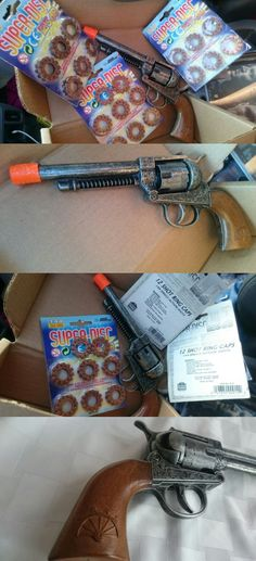 Diecast 152939: Edison Giocatolli Long Barrel Die Cast Metal Toy Pistol + 3 Super Discs Italynew -> BUY IT NOW ONLY: $35.99 on eBay!
