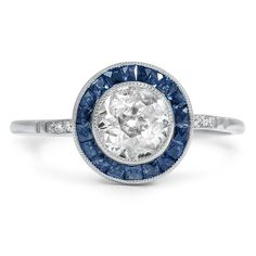 Vintage Sapphire Modern Engagement Ring - Clyde