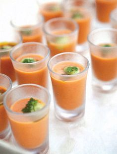 Lunch #1: tomato soup shooters (tortilla soup shooters)