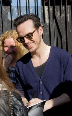 Andrew Scott signing autographs after Birdland (03 May 2014)