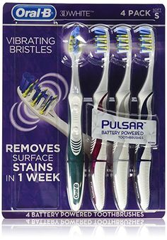 Amazon.com : Oral-B 3D White Luxe 4 Pack Pulsar Battery Powered Toothbrushes (Medium) : Beauty