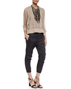 -5HS6 Brunello Cucinelli Shimmer Tulle Contrast-Trimmed Top, Black Agate Tribal Necklace & Moto Knee Pull-On Pants