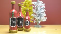 Wine Bottle Santa #DIY #HolidayDecor #Crafts #Wine