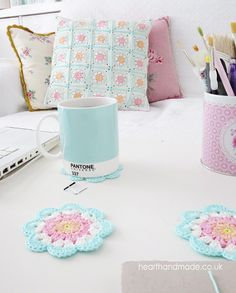 mint pink peach crochet coasters and cushion