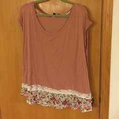 Adorable rose colored t-shirt. Size 2X. Beautiful rose colored t-shirt with decorative bottom.  Would love to keep but it is too big for me. Living Doll Tops Tees - Short Sleeve