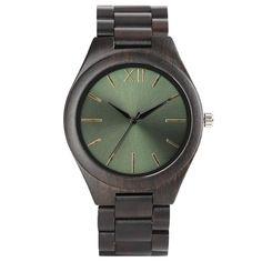 Classic Black Sandalwood Watch Aeruginous Green Dial Roman Numbers Trendy Unisex Wooden Wristwatch Novel Gifts Clock montre hour