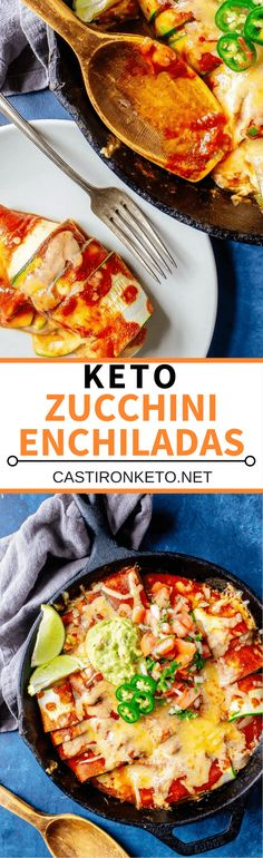 Keto Enchiladas! Made low carb with zucchini instead of tortillas. This is an easy weeknight dinner! #keto #lowcarb