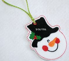 In the hoop embroidered Snowman Christmas Ornament