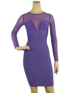 Long Sleeve Purple Dress | ... DRESSES » Herve Leger Long Sleeve Signature Purple Bandage Dress
