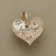 GOLD ALWAYS HEART CHARM -- Jes MaHarry's heart charm engraved with up to five initials. Stamped heart on reverse. Mother's Day delivery order must be placed by May midnight MST (expedited charges may apply. I Love Heart, Key To My Heart, Happy Heart, Heart Jewelry, Heart Ring, Gold Heart, Jewelry Box, Love Symbols, Felt Hearts