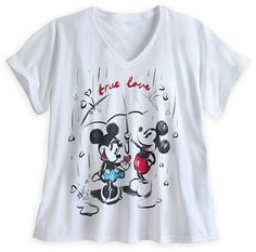 Mickey and Minnie Mouse V-Neck Tee for Women - Plus Size