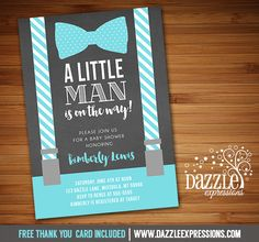Printable Chalkboard Suspenders and Bow Tie Birthday Invitation | Little Man | Mister | Its a Boy | Baby Boy FREE thank you card | Party Package Available |  Banner | Cupcake Toppers | Favor Tag | Food and Drink Labels | Signs |  Candy Bar Wrapper | www.dazzleexpressions.com