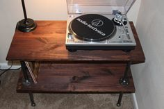 Record Player Stand: 2 ft. Tall & 3 ft. Long & 17.5 in. Wide LP Record Section - 12.5 Inches   Laminated Pine Red Oak Oil-Stained Polyurethane on 1 side for your choice of look (dry/shine) 1/2' Steel Pipes