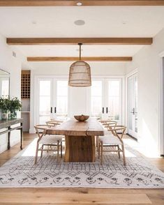 Farmhouse Dining Room, Living Table, Living Room Lighting, Live Edge Dining Table, House Interior, Dining Room Table, Living Room Decor, Dining Room Table Decor, Wood Dining Room Table