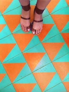 Justina Blakeney: Beachwood Cafe Patterned Tile, Re-imagined Floor Patterns, Tile Patterns, Geometric Patterns, Textures Patterns, Tile Design, Pattern Design, Paving Design, Patio Azul, Orange And Turquoise