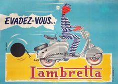 Galerie Montmartre: Original Vintage Posters Jean Moreau Lambretta 1955 270 x 158 cm