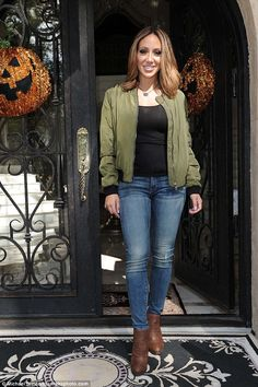 Spooky: The Real Housewives Of New Jersey star posed outside her home on Wednesday