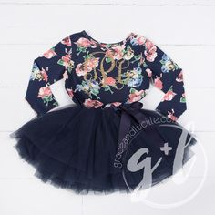 First Birthday outfit girl with heart and navy blue tutu for girls or toddlers, Floral dress, custom dress, long sleeve – Dream Fashion Party Dress Outfits, Girl Outfits, Custom Dresses, Custom Clothes, First Birthday Outfit Girl, Blue Tutu, Birthday Fashion, Tutus For Girls, Baby Girls