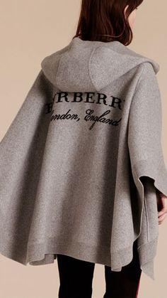 Poncho à capuche en laine et cachemire mélangé gris, Burberry