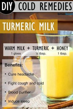 Drink Turmeric Milk to Get Rid Of Common Cold. Turmeric Milk recipe, and benefits of drinking Turmeric Milk during common cold. One of the effective way to get rid of common cold very fast. Natural common cold remedies how to get rid. Natural Health Remedies, Herbal Remedies, Gaia, Turmeric And Honey, Fresh Turmeric, Turmeric Tea, Turmeric Paste, Turmeric Arthritis, Turmeric For Colds