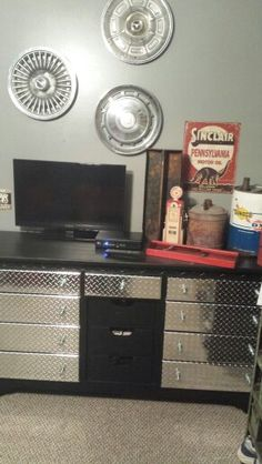 Dresser done with sticker sheets for industrial boys room!  Love