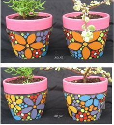 DIY painted pots: How to paint pots for making your garden more adorable. Painted Flower Pots, Painting Terracotta Pots, Painting and Sealing Colors on Pots Mosaic Planters, Mosaic Flower Pots, Clay Flower Pots, Mosaic Garden, Mosaic Vase, Flower Pot Art, Flower Pot Design, Flower Pot Crafts, Clay Pot Crafts