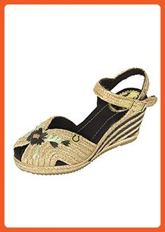 Miss L Fire Renee Raffia Floral Embroidered Open Toe Women's Espadrille Wedge Sandals (37 (US 6.5)) - Sandals for women (*Amazon Partner-Link)
