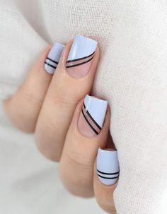 5 Όμορφα σχέδια για απλό μανικιούρ! | ediva.gr French Acrylic Nails, French Nail Art, French Nail Designs, Gel Nail Designs, Nail Striping Tape, Tape Nail Art, Gel Nail Art, Diy Nails, Manicure