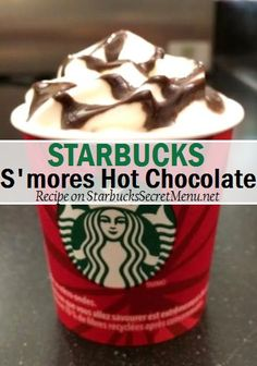 Starbucks S'mores Hot Chocolate. Mmm #StarbucksSecretMenu Recipe here: http://starbuckssecretmenu.net/smores-hot-chocolate-starbucks-secret-menu/