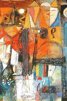 wosene kosrof paintings | Terra Firma Gallery -- Wosene Kosrof, Round Midnite