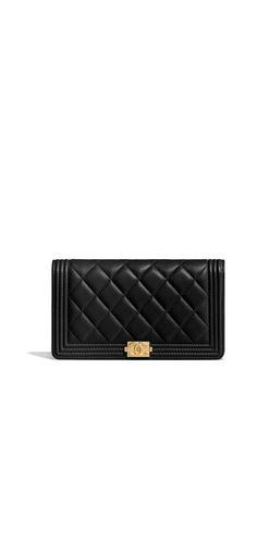 da5e1ee4f364 BOY CHANEL wallet, lambskin & gold-tone metal-black - CHANEL Chanel Wallet