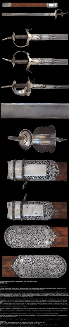 Indian khanda sword, Northern India, late 17th century, length: 100cm, wootz / damascus blade; a large gilded ornate hilt; and a scabbard with superbly worked silver mounts - which themselves offer excellent and relatively rare examples of late seventeenth century Indian silver work. The khanda is one of the oldest styles of Indian swords.