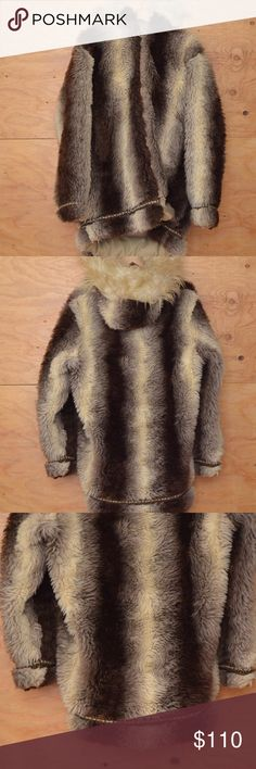 Faux Fur Eskimo Down Snow Coat Embroidered Detail DESIGN DETAILS INCLUDE: Beautifully soft fluffy cozy bold warm brown and cream coat. Great winter ski coat lots of warmth and style. Oversized  zips up the front; fully lined; side pockets, hooded detail, embodied aztec ribbon edging on cuff and at hem.   SIZE: Women's M, Mens Jackets & Coats Puffers