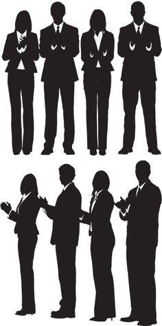 Vectores libres de derechos: Silhouette of business executives clapping