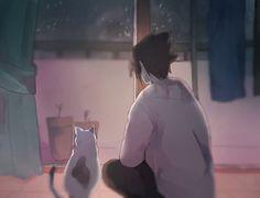 Sasuke and cat. Him is a cat