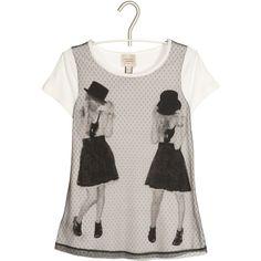 MANGO T-shirt bi-matière Blanc ($16) ❤ liked on Polyvore