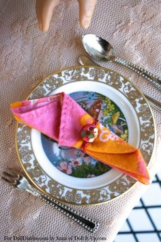 Doll Craft-Make Napkin Rings to Dress Up Your Doll's Table — Doll Diaries - I would omit the glitter and just use cute buttons.