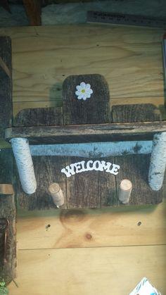 Oak barn wood shelf with birch coat hooks and shelf braces by RusticCabinManCave on Etsy