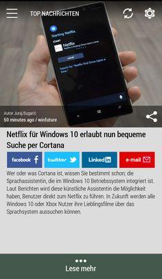 Netflix für Windows 10 erlaubt nun bequeme Suche per Cortana. #Born2Invest: die besten Geschäfts- und Finanznachrichten aus den vertrauenswürdigen Quellen. Jetzt unsere kostenlose Android App herunterladen. #netflix #cortana #windows10